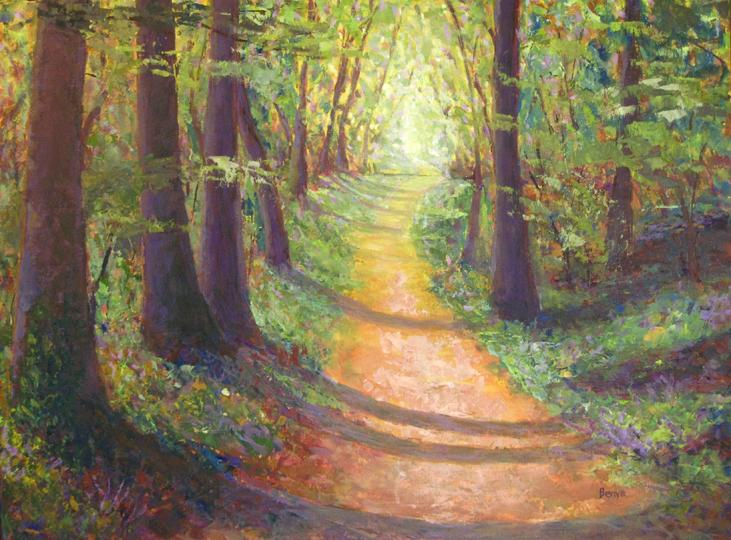Painting of a pathway in a forest