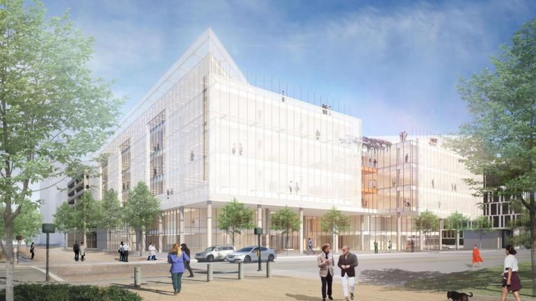 A rendered view of the Joan and Sanford I. Weill Neurosciences Building.