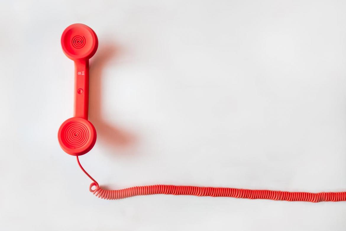A red telephone handset