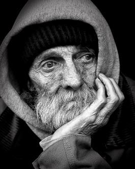 Face of a homeless man