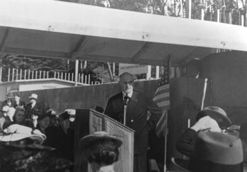 Langley Porter speaks during the cornerstone laying ceremony